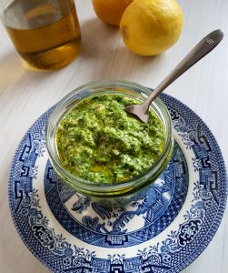chickweed pesto in a bowl